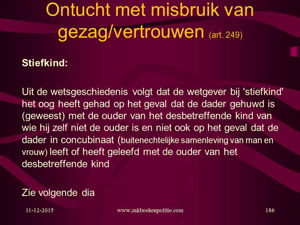 11-12-2015www.zakboekenpolitie.com186 Ontucht met misbruik van gezag/vertrouwen (art.