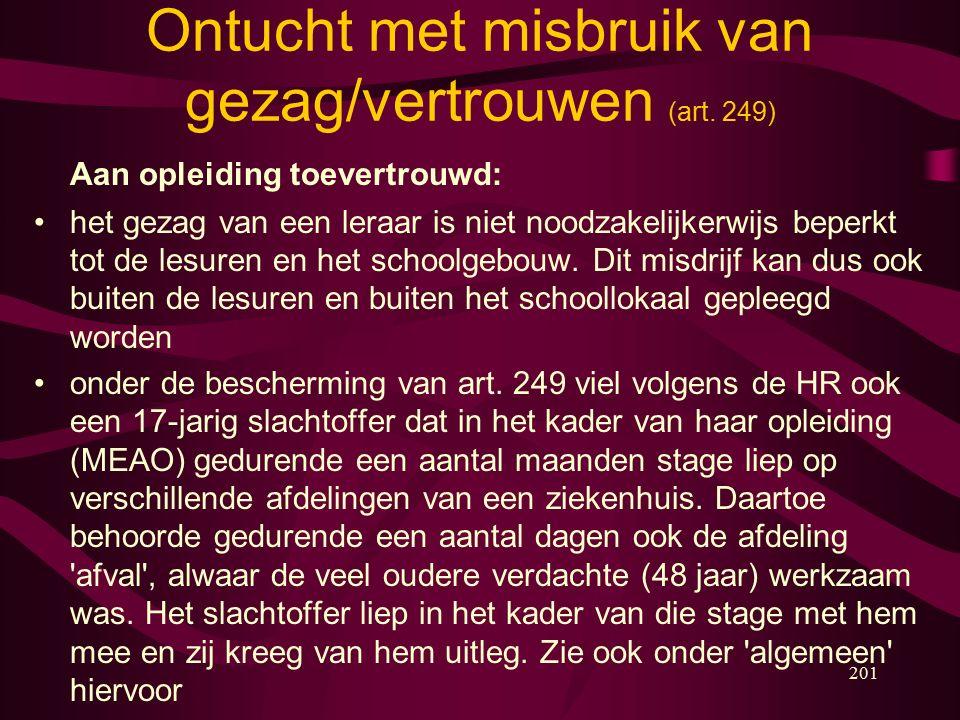 201 Ontucht met misbruik van gezag/vertrouwen (art.