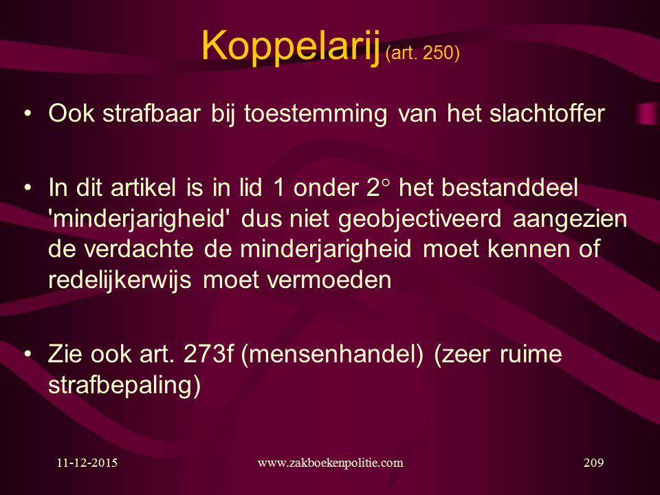 11-12-2015www.zakboekenpolitie.com209 Koppelarij (art.