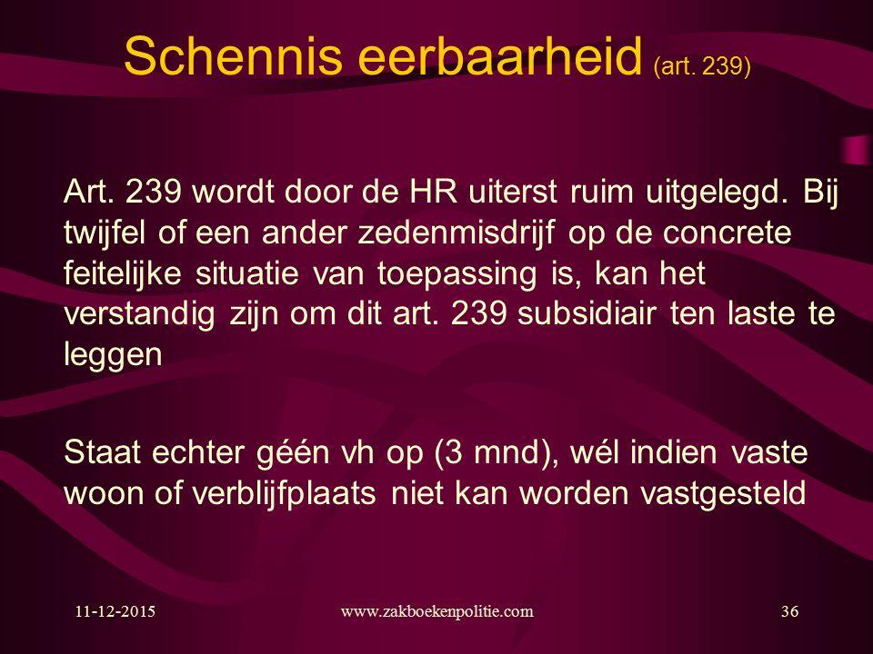 11-12-2015www.zakboekenpolitie.com36 Schennis eerbaarheid (art.