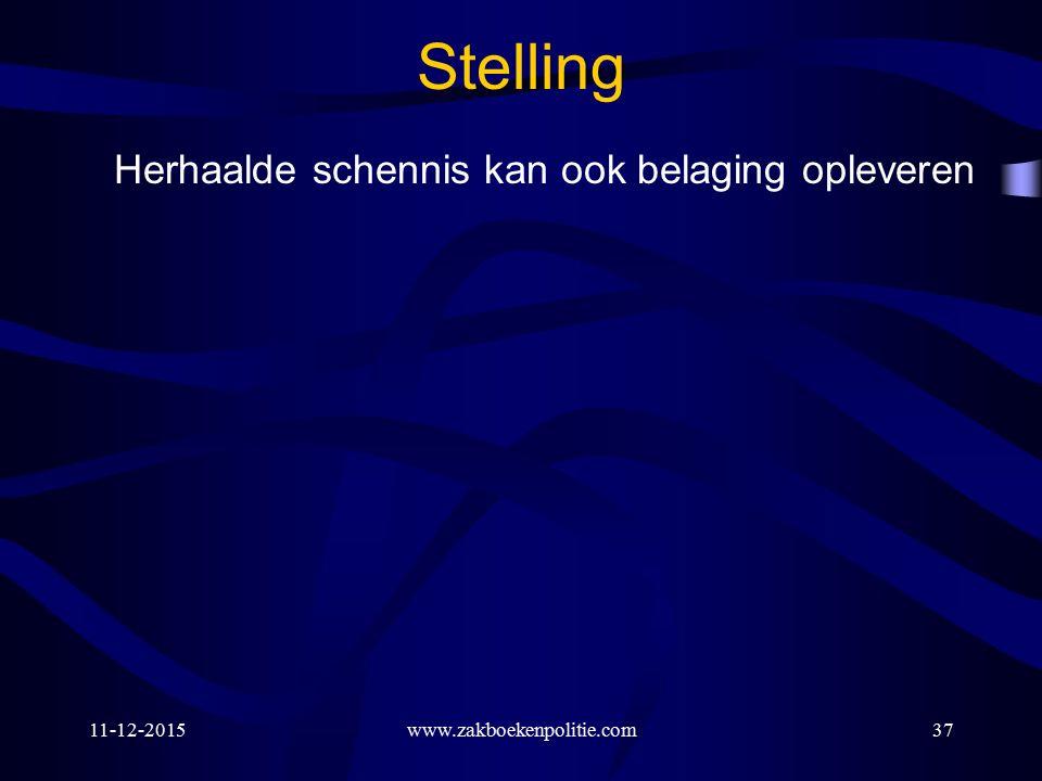 11-12-2015www.zakboekenpolitie.com37 Stelling Herhaalde schennis kan ook belaging opleveren