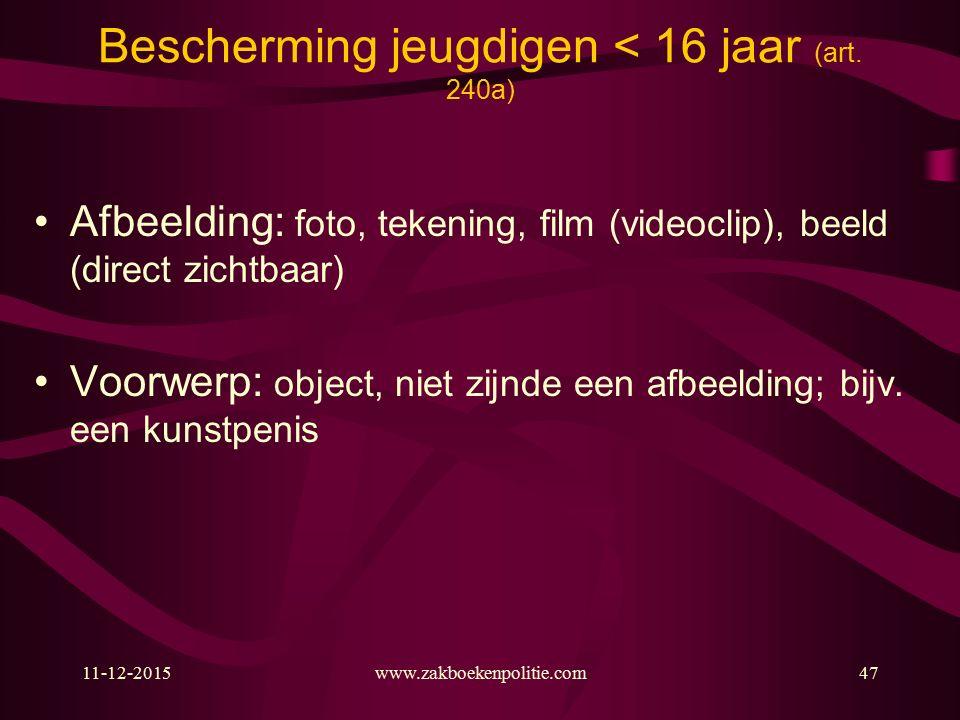 11-12-2015www.zakboekenpolitie.com47 Bescherming jeugdigen < 16 jaar (art.