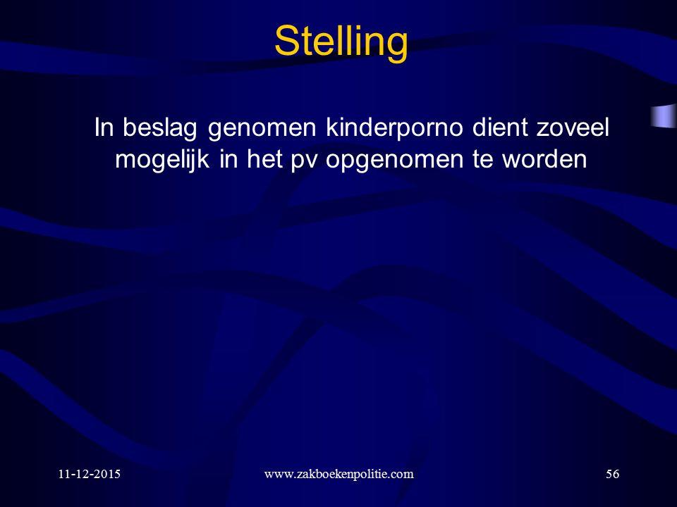 11-12-2015www.zakboekenpolitie.com56 Stelling In beslag genomen kinderporno dient zoveel mogelijk in het pv opgenomen te worden