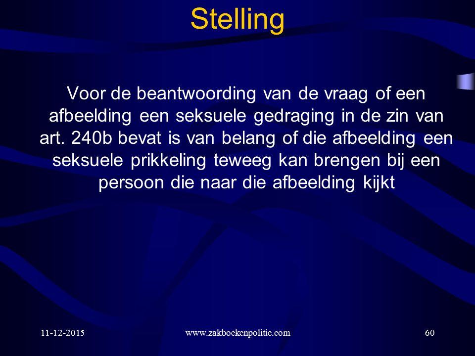 11-12-2015www.zakboekenpolitie.com60 Stelling Voor de beantwoording van de vraag of een afbeelding een seksuele gedraging in de zin van art.