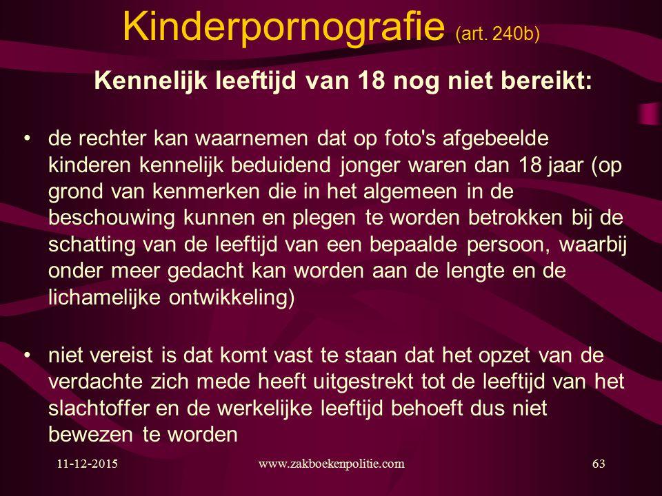 11-12-2015www.zakboekenpolitie.com63 Kinderpornografie (art.