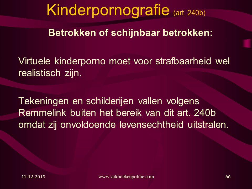 11-12-2015www.zakboekenpolitie.com66 Kinderpornografie (art.