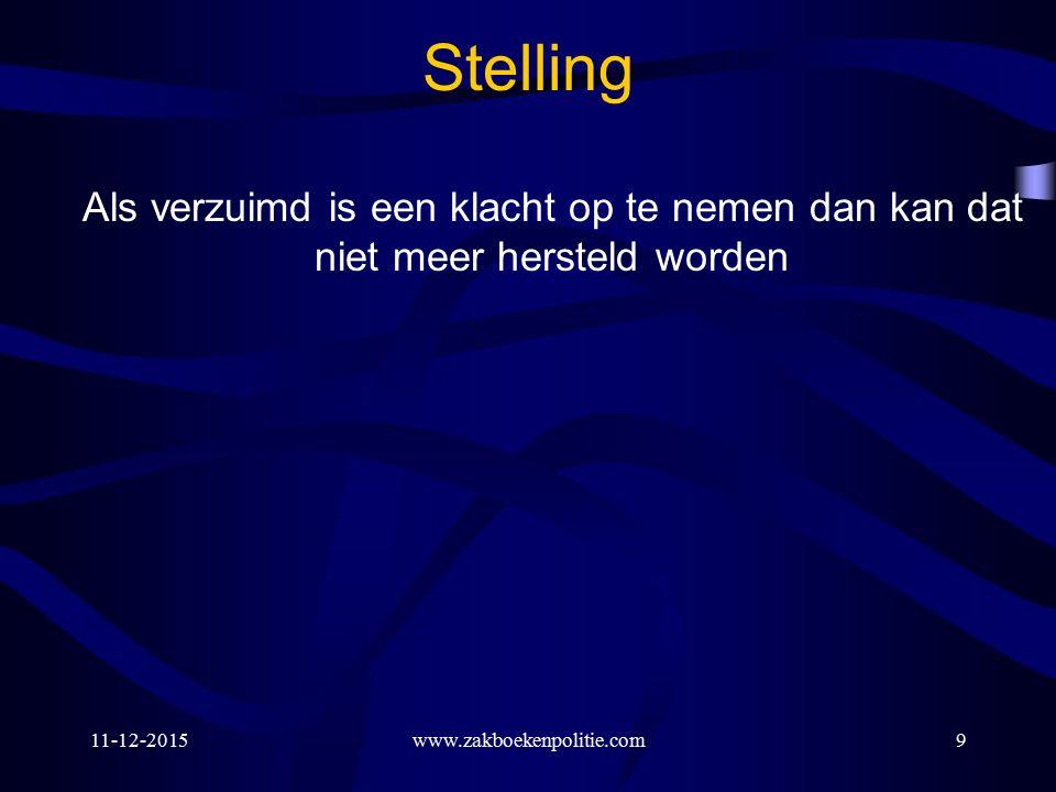 11-12-2015www.zakboekenpolitie.com20 Verjaringstermijn (3/4) Art.