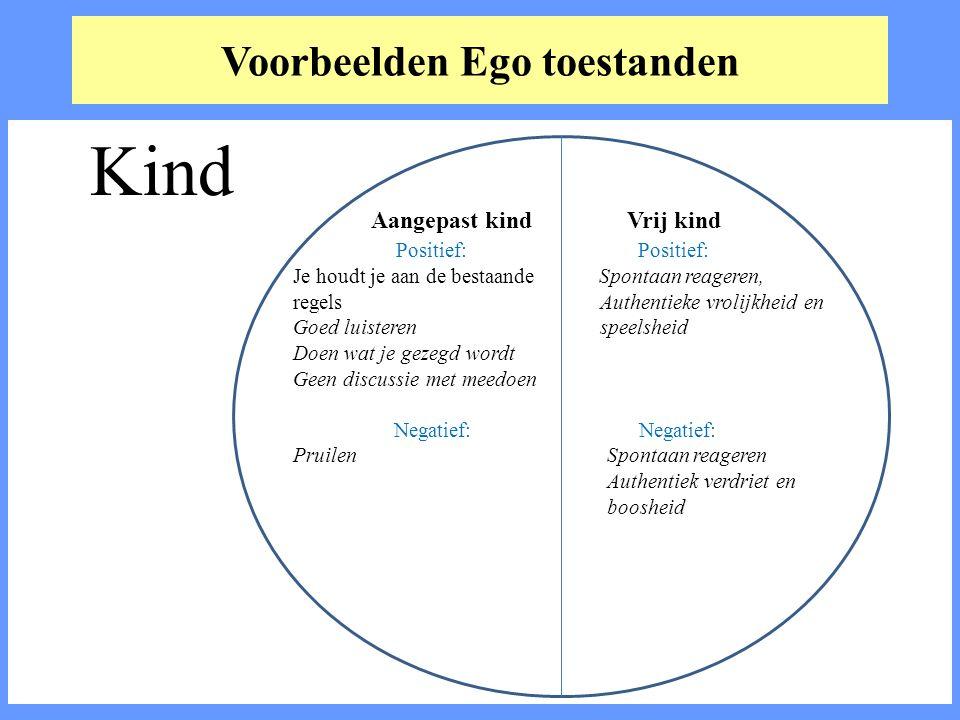 Voorbeelden Ego toestanden Kind Aangepast kind Vrij kind Positief: Positief: Je houdt je aan de bestaande Spontaan reageren, regels Authentieke vrolij