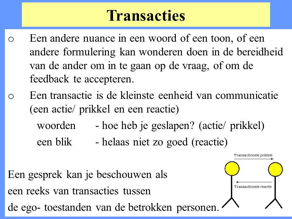 Transacties o Een andere nuance in een woord of een toon, of een andere formulering kan wonderen doen in de bereidheid van de ander om in te gaan op d
