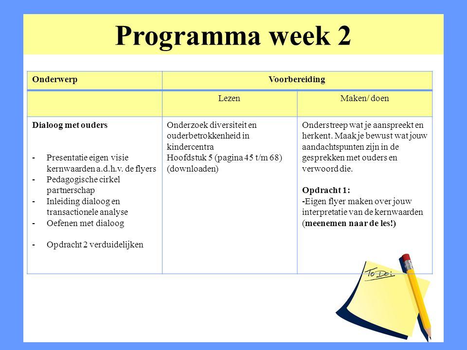 Programma week 2 OnderwerpVoorbereiding LezenMaken/ doen Dialoog met ouders -Presentatie eigen visie kernwaarden a.d.h.v. de flyers -Pedagogische cirk