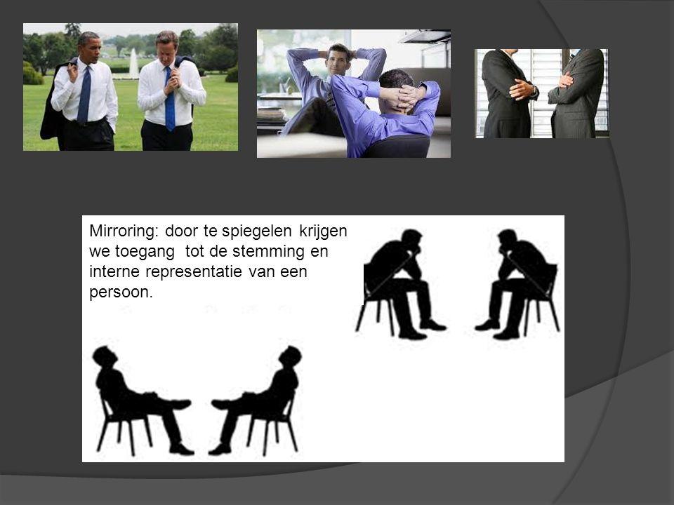Mirroring: door te spiegelen krijgen we toegang tot de stemming en interne representatie van een persoon.
