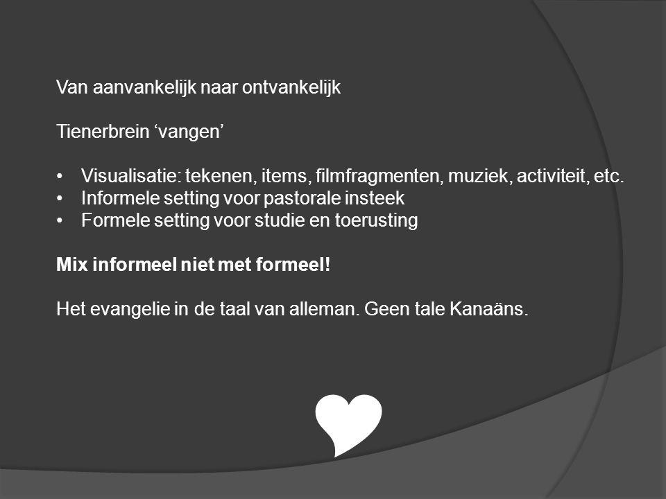 Van aanvankelijk naar ontvankelijk Tienerbrein 'vangen' Visualisatie: tekenen, items, filmfragmenten, muziek, activiteit, etc.