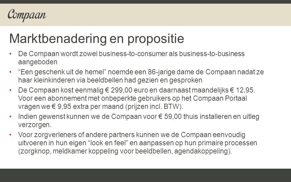 De Compaan wordt zowel business-to-consumer als business-to-business aangeboden Een geschenk uit de hemel noemde een 86-jarige dame de Compaan nadat ze haar kleinkinderen via beeldbellen had gezien en gesproken De Compaan kost eenmalig € 299,00 euro en daarnaast maandelijks € 12,95.