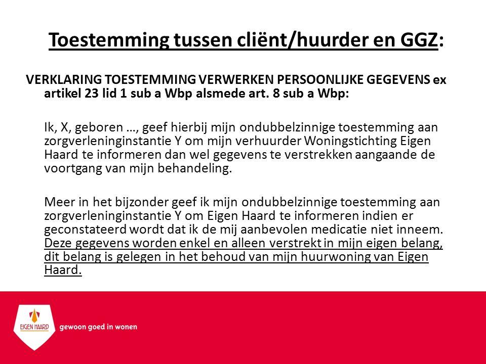 Toestemming tussen cliënt/huurder en GGZ: VERKLARING TOESTEMMING VERWERKEN PERSOONLIJKE GEGEVENS ex artikel 23 lid 1 sub a Wbp alsmede art. 8 sub a Wb