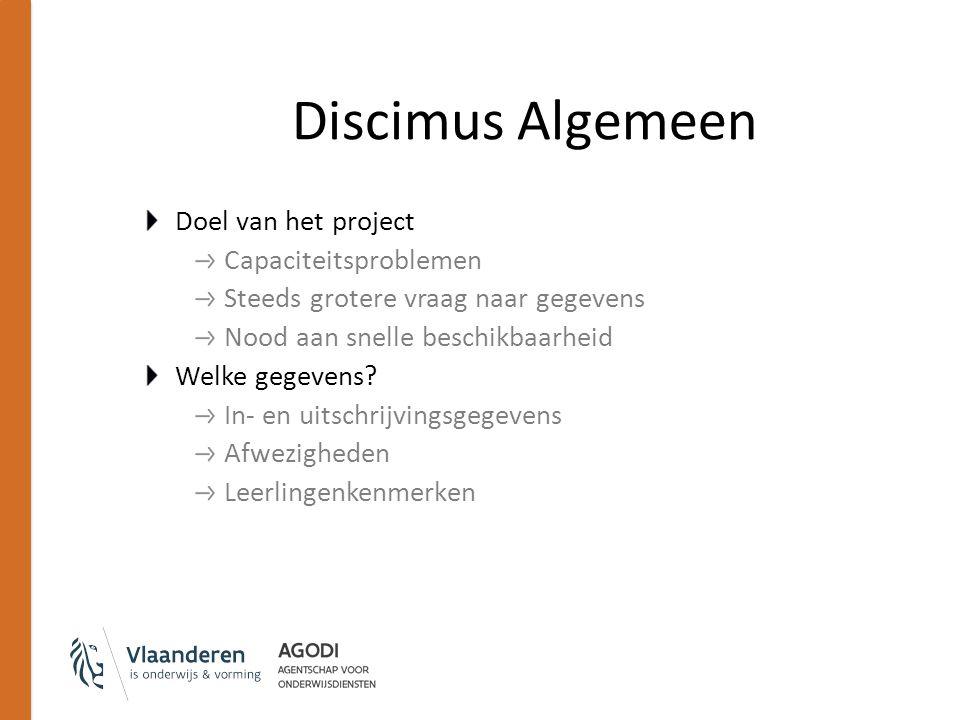 Discimus Algemeen Doel van het project Capaciteitsproblemen Steeds grotere vraag naar gegevens Nood aan snelle beschikbaarheid Welke gegevens? In- en