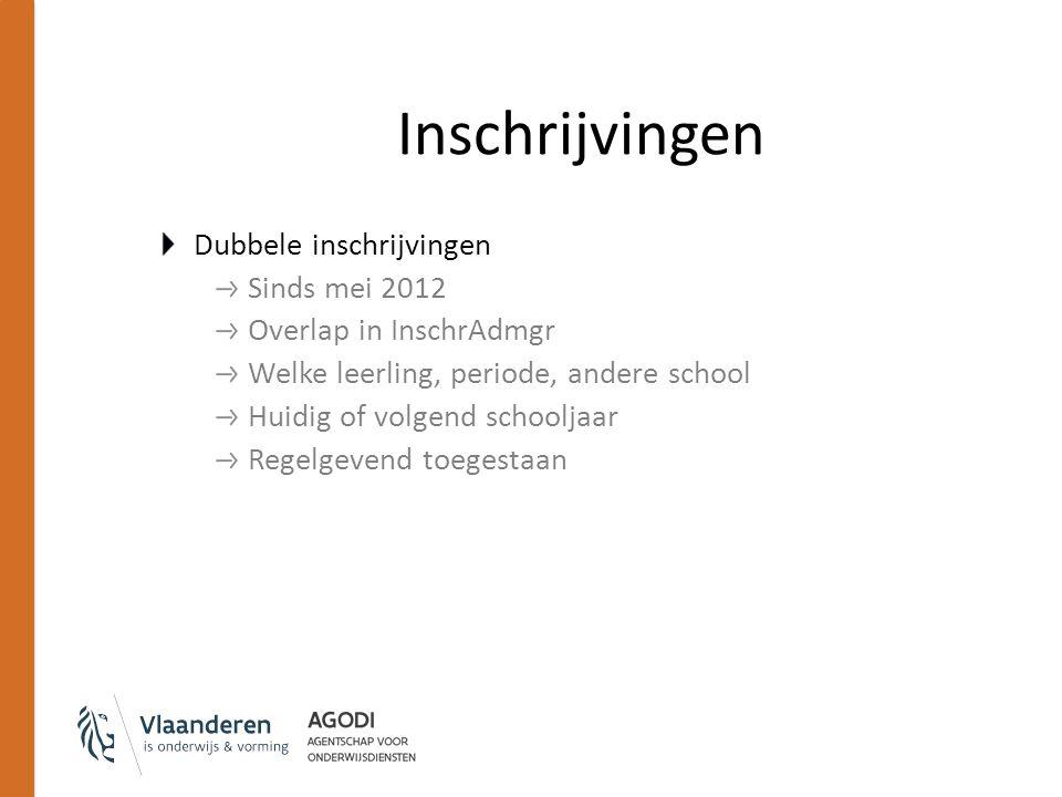 Inschrijvingen Dubbele inschrijvingen Sinds mei 2012 Overlap in InschrAdmgr Welke leerling, periode, andere school Huidig of volgend schooljaar Regelg
