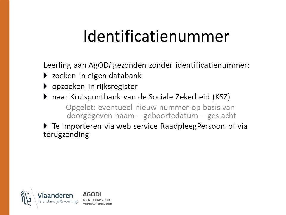 Identificatienummer Leerling aan AgODi gezonden zonder identificatienummer: zoeken in eigen databank opzoeken in rijksregister naar Kruispuntbank van