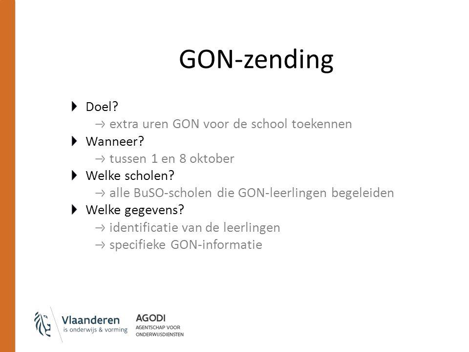 GON-zending Doel? extra uren GON voor de school toekennen Wanneer? tussen 1 en 8 oktober Welke scholen? alle BuSO-scholen die GON-leerlingen begeleide