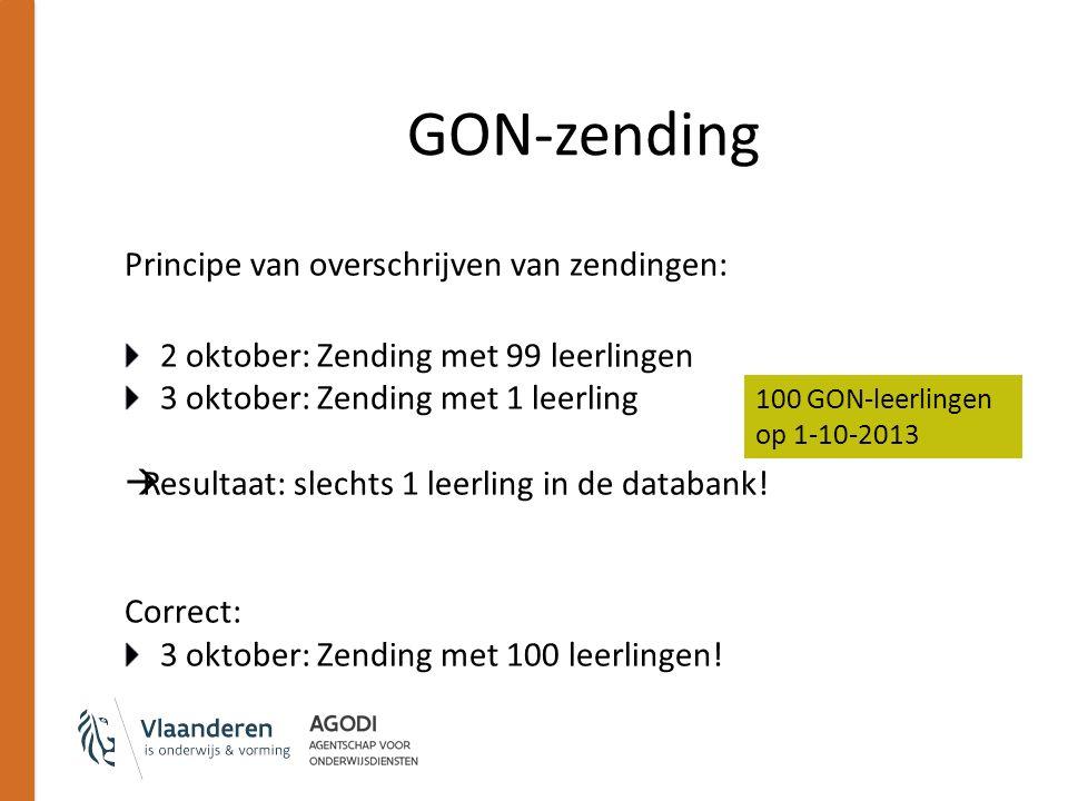 Principe van overschrijven van zendingen: 2 oktober: Zending met 99 leerlingen 3 oktober: Zending met 1 leerling  Resultaat: slechts 1 leerling in de databank.