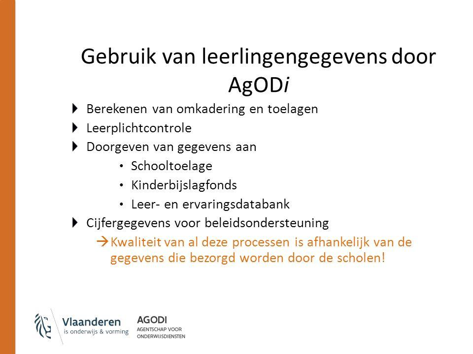 Gebruik van leerlingengegevens door AgODi Berekenen van omkadering en toelagen Leerplichtcontrole Doorgeven van gegevens aan Schooltoelage Kinderbijsl