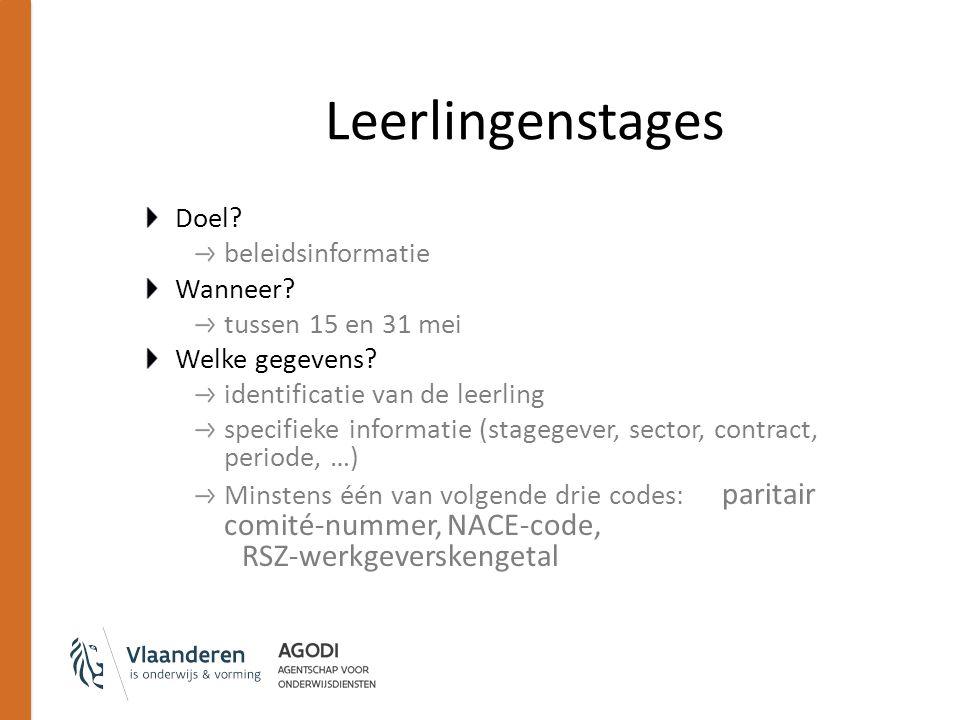 Leerlingenstages Doel? beleidsinformatie Wanneer? tussen 15 en 31 mei Welke gegevens? identificatie van de leerling specifieke informatie (stagegever,