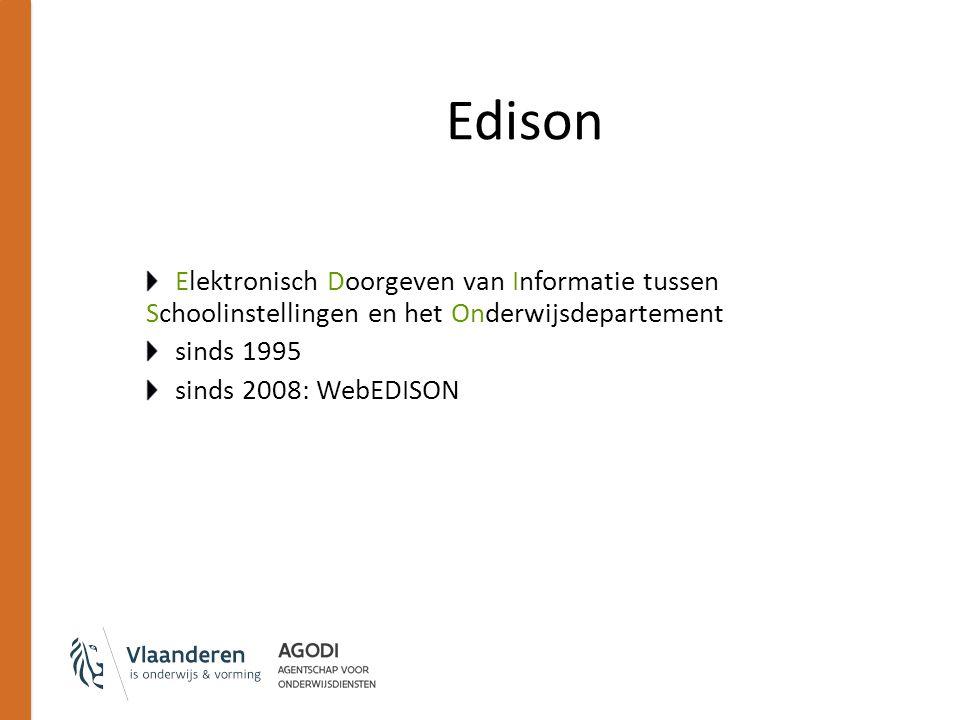 Edison Idee: School voert informatie in in het softwarepakket Op vaste momenten aanmaak van een (groot) tekst- bestand Inloggen op server van Edison om dit te versturen Dag nadien antwoord ophalen om te kijken of verwerking geslaagd is