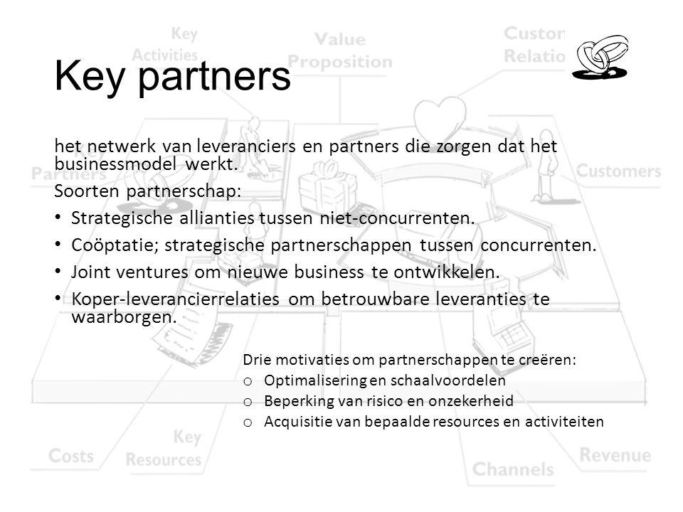 Key partners het netwerk van leveranciers en partners die zorgen dat het businessmodel werkt. Soorten partnerschap: Strategische allianties tussen nie