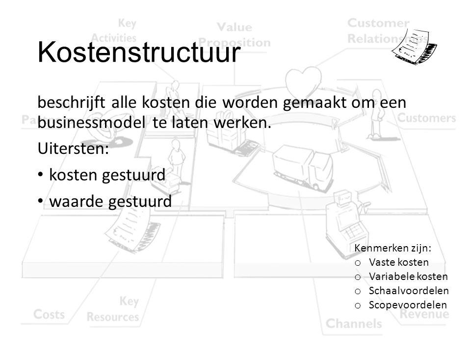 Kostenstructuur beschrijft alle kosten die worden gemaakt om een businessmodel te laten werken. Uitersten: kosten gestuurd waarde gestuurd Kenmerken z