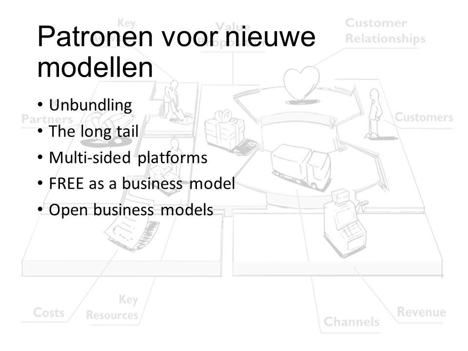 Patronen voor nieuwe modellen Unbundling The long tail Multi-sided platforms FREE as a business model Open business models