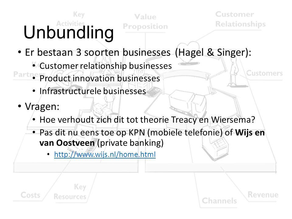 Unbundling Er bestaan 3 soorten businesses (Hagel & Singer): Customer relationship businesses Product innovation businesses Infrastructurele businesse