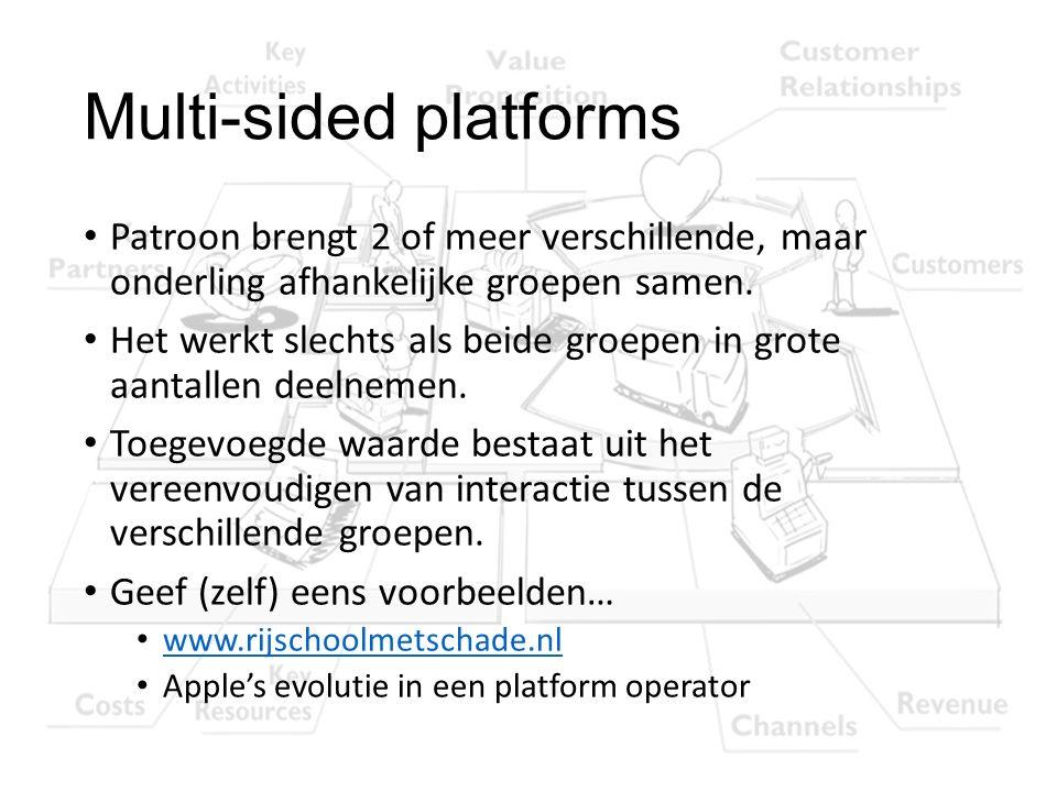 Multi-sided platforms Patroon brengt 2 of meer verschillende, maar onderling afhankelijke groepen samen. Het werkt slechts als beide groepen in grote