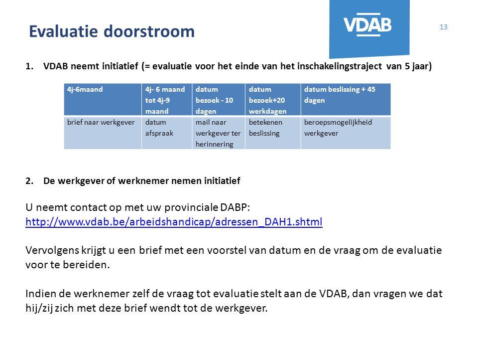 Evaluatie doorstroom 13 1.VDAB neemt initiatief (= evaluatie voor het einde van het inschakelingstraject van 5 jaar) 2.De werkgever of werknemer nemen