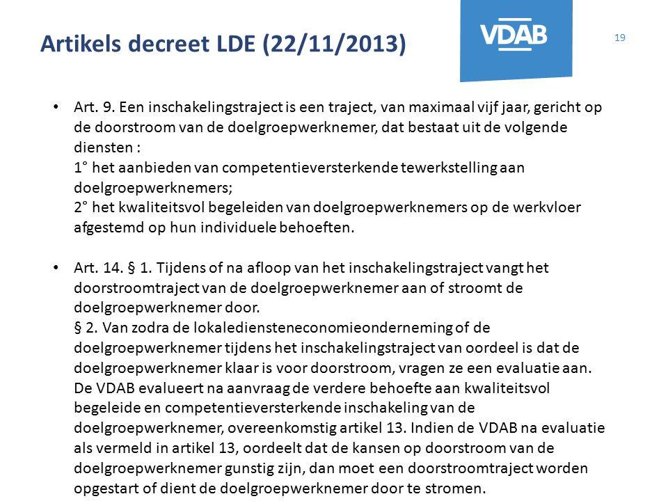 Artikels decreet LDE (22/11/2013) 19 Art. 9. Een inschakelingstraject is een traject, van maximaal vijf jaar, gericht op de doorstroom van de doelgroe