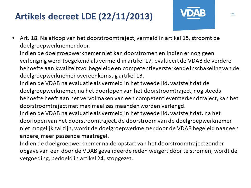Artikels decreet LDE (22/11/2013) 21 Art. 18. Na afloop van het doorstroomtraject, vermeld in artikel 15, stroomt de doelgroepwerknemer door. Indien d