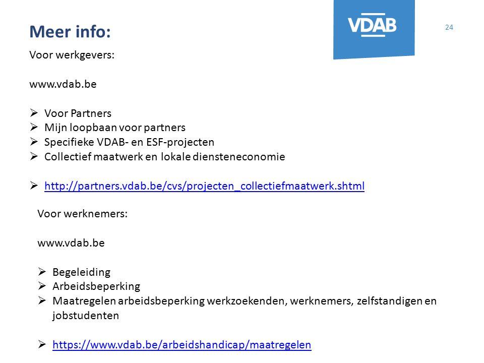 Meer info: 24 Voor werkgevers: www.vdab.be  Voor Partners  Mijn loopbaan voor partners  Specifieke VDAB- en ESF-projecten  Collectief maatwerk en lokale diensteneconomie  http://partners.vdab.be/cvs/projecten_collectiefmaatwerk.shtml http://partners.vdab.be/cvs/projecten_collectiefmaatwerk.shtml Voor werknemers: www.vdab.be  Begeleiding  Arbeidsbeperking  Maatregelen arbeidsbeperking werkzoekenden, werknemers, zelfstandigen en jobstudenten  https://www.vdab.be/arbeidshandicap/maatregelen https://www.vdab.be/arbeidshandicap/maatregelen