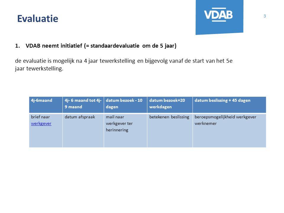 Evaluatie 3 1.VDAB neemt initiatief (= standaardevaluatie om de 5 jaar) de evaluatie is mogelijk na 4 jaar tewerkstelling en bijgevolg vanaf de start
