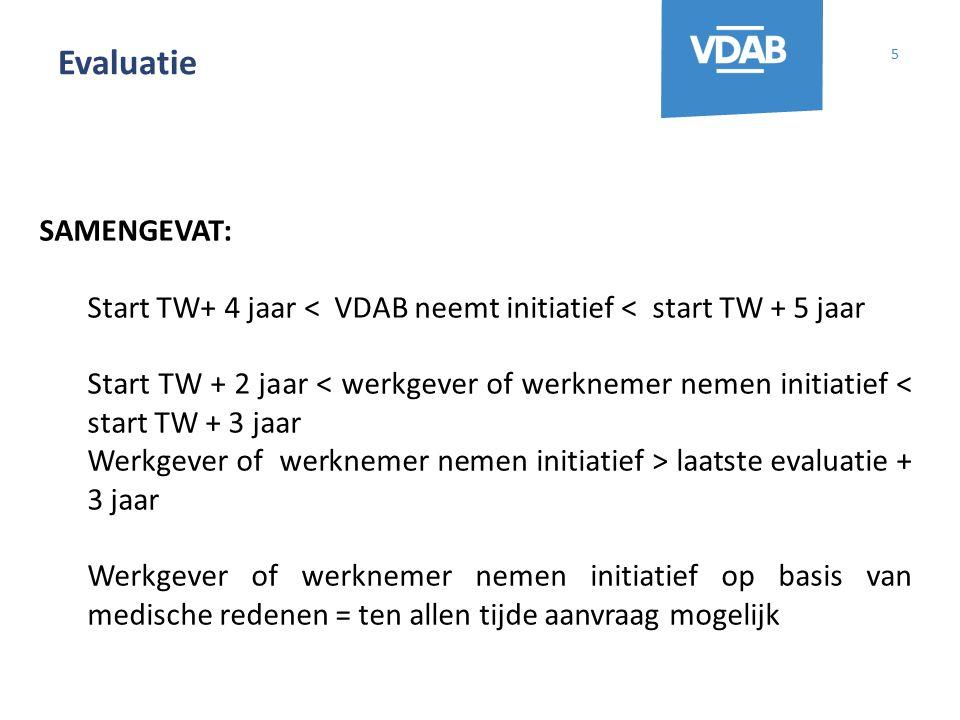 Evaluatie 5 SAMENGEVAT: Start TW+ 4 jaar < VDAB neemt initiatief < start TW + 5 jaar Start TW + 2 jaar < werkgever of werknemer nemen initiatief < sta