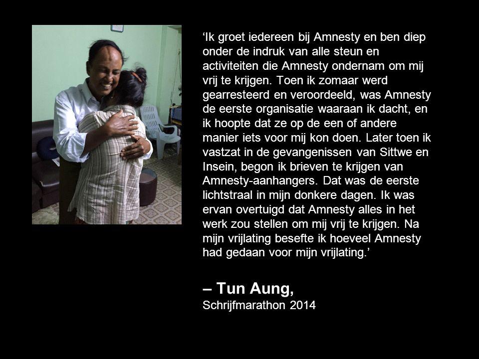 'Ik groet iedereen bij Amnesty en ben diep onder de indruk van alle steun en activiteiten die Amnesty ondernam om mij vrij te krijgen. Toen ik zomaar