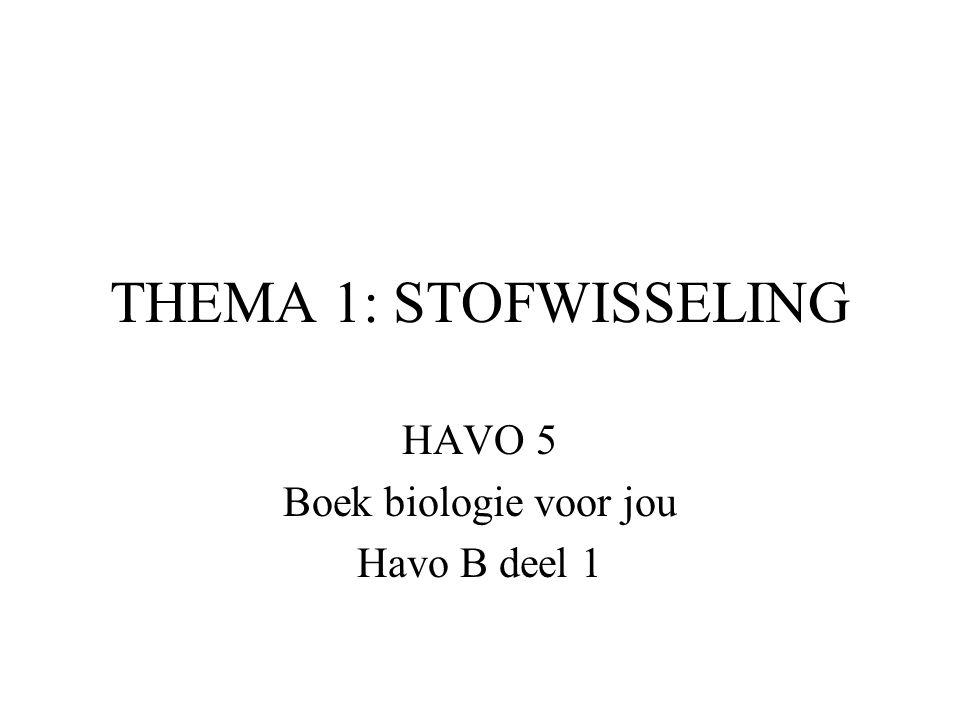 THEMA 1: STOFWISSELING HAVO 5 Boek biologie voor jou Havo B deel 1
