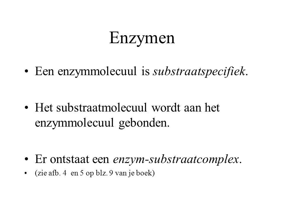 Enzymen Een enzymmolecuul is substraatspecifiek. Het substraatmolecuul wordt aan het enzymmolecuul gebonden. Er ontstaat een enzym-substraatcomplex. (