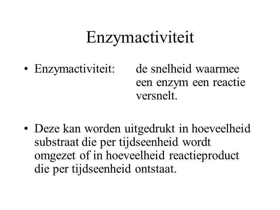 Enzymactiviteit Enzymactiviteit:de snelheid waarmee een enzym een reactie versnelt. Deze kan worden uitgedrukt in hoeveelheid substraat die per tijdse