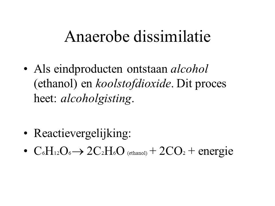 Anaerobe dissimilatie Als eindproducten ontstaan alcohol (ethanol) en koolstofdioxide. Dit proces heet: alcoholgisting. Reactievergelijking: C 6 H 12
