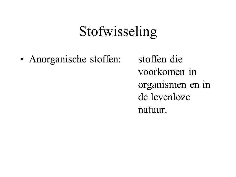 Stofwisseling Anorganische stoffen:stoffen die voorkomen in organismen en in de levenloze natuur.