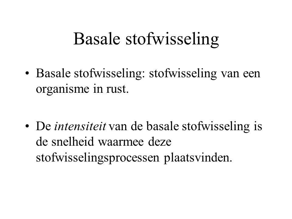 Basale stofwisseling Basale stofwisseling: stofwisseling van een organisme in rust. De intensiteit van de basale stofwisseling is de snelheid waarmee