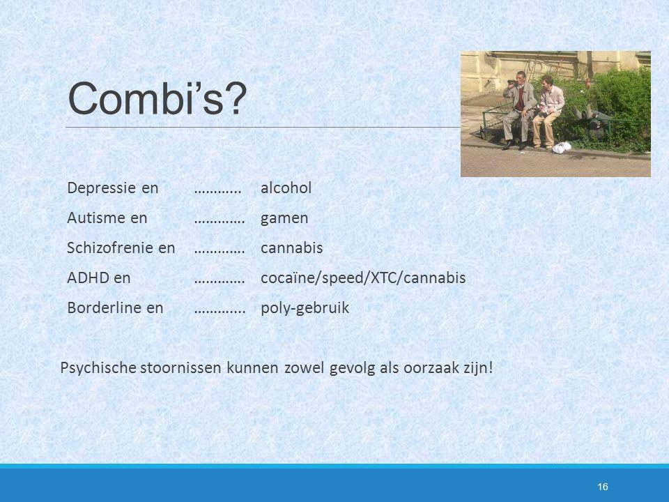Combi's? Depressie en ………...alcohol Autisme en ………….gamen Schizofrenie en………….cannabis ADHD en………….cocaïne/speed/XTC/cannabis Borderline en………....poly