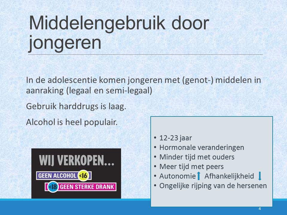 Middelengebruik door jongeren In de adolescentie komen jongeren met (genot-) middelen in aanraking (legaal en semi-legaal) Gebruik harddrugs is laag.