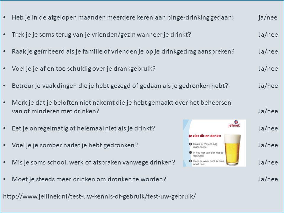 5 Heb je in de afgelopen maanden meerdere keren aan binge-drinking gedaan: ja/nee Trek je je soms terug van je vrienden/gezin wanneer je drinkt? Ja/ne