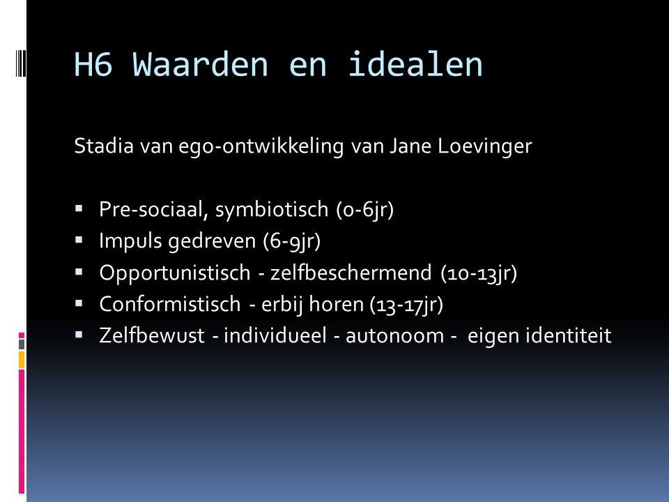 H6 Waarden en idealen Stadia van ego-ontwikkeling van Jane Loevinger  Pre-sociaal, symbiotisch (0-6jr)  Impuls gedreven (6-9jr)  Opportunistisch - zelfbeschermend (10-13jr)  Conformistisch - erbij horen (13-17jr)  Zelfbewust - individueel - autonoom - eigen identiteit