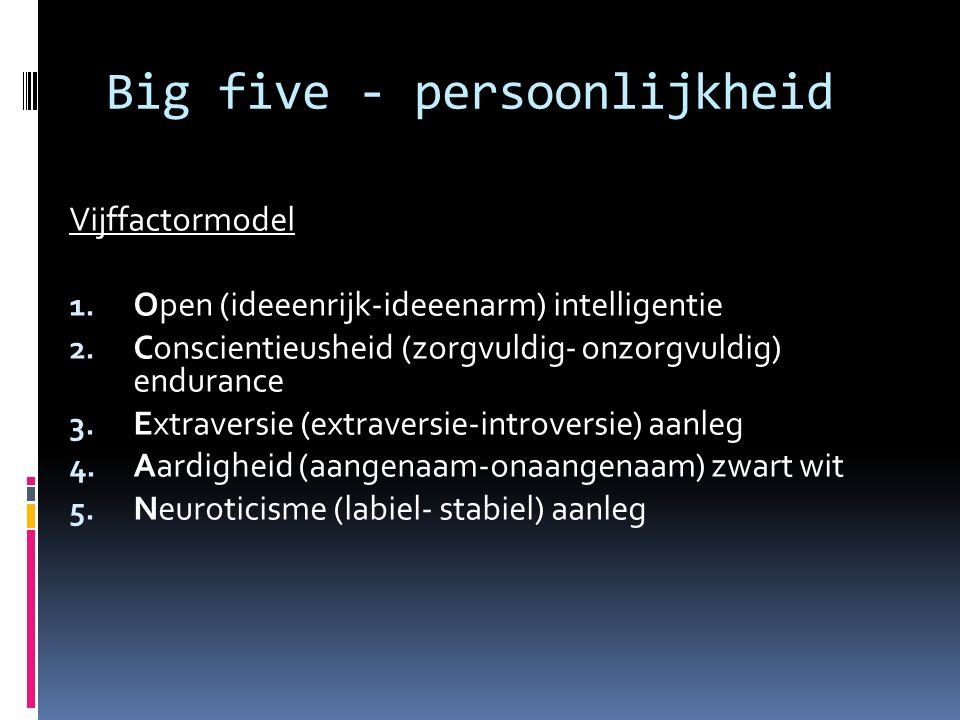 Big five - persoonlijkheid Vijffactormodel 1.Open (ideeenrijk-ideeenarm) intelligentie 2.