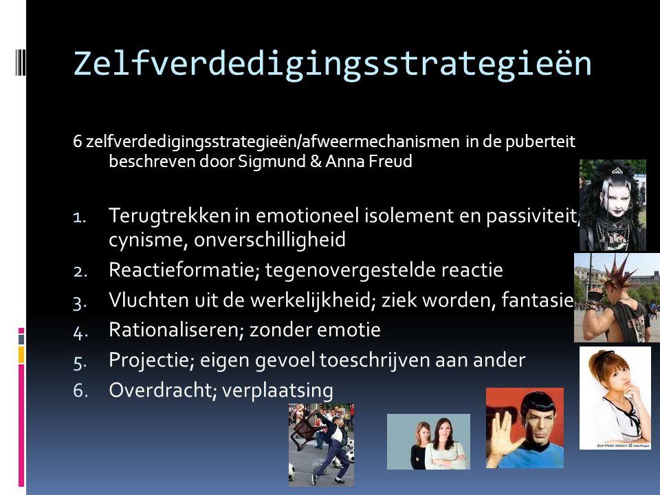 Zelfverdedigingsstrategieën 6 zelfverdedigingsstrategieën/afweermechanismen in de puberteit beschreven door Sigmund & Anna Freud 1.